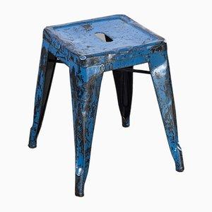 Französische H Esszimmerstühle aus Hellblauem Metall von Tolix, 1950er, 4er Set