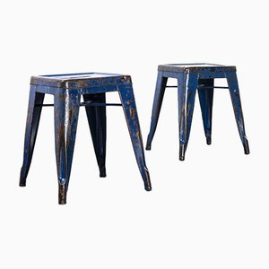 French H Dining Stools in Blue Metal from Tolix, 1950s, Set of 2