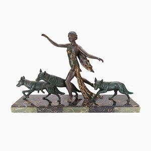 Escultura de mujer Art Déco con pastor, años 30