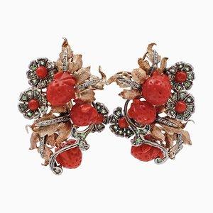 Boucles d'Oreilles Tsavorites, Diamants, Corail, Or Rose 9 Carats et Argent
