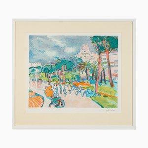 Harbor Promenade, Color Lithograph