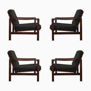 Black B-7752 Armchairs by Zenon Bączyk for Swarzędzkie Fabryki Mebli, 1960s, Set of 4