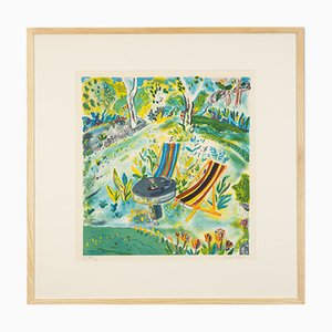 Summer in the Garden, Color Lithograph