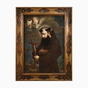 Antique Italian Religious Painting Depicting Saint Joseph of Leonessa, 18th Century