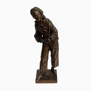 E. Bouret, Im Licht des Mondes, 1800er, Bronze Skulptur