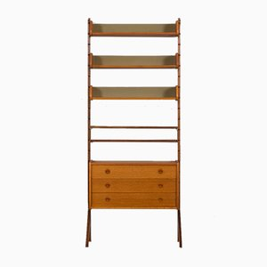 Scandinavian Teak Ergo Wall Unit with 3 Shelves and 1 Chest of Drawers, Norway, 1960s