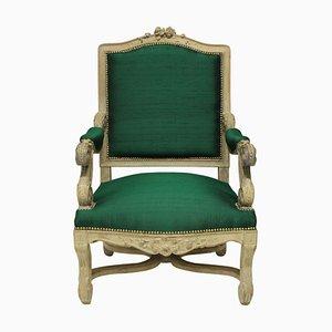 Butaca estilo Luis XIV de seda esmeralda