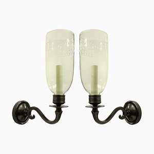 Lámparas de pared inglesas estilo Regency con pantallas Storm, años 70. Juego de 2