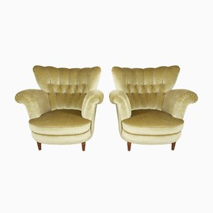 Danish Velour Wingback Lounge Chairs, 1940s, Set of 2