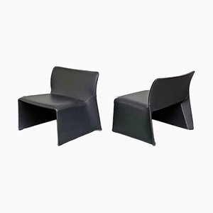 Italian Mid-Century Modern Leather Armchairs with Curved Monocoque, 1970s, Set of 3