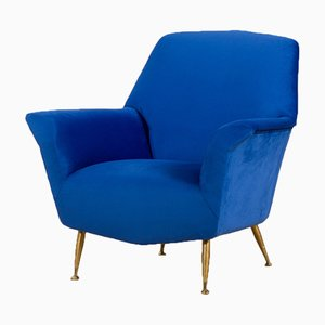 Mid-Century Italian Modern Blue Velvet Armchair in the Style of Gigi Radice, 1960s
