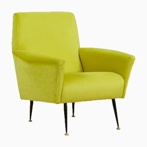 Mid-Century Italian Modern Lemongrass Green Velvet Lounge Chair, 1960s