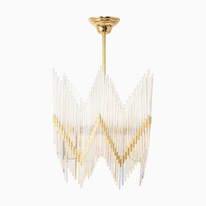Gilt Brass and Crystal Glass Rod Chandelier from Palwa, Germany, 1970s