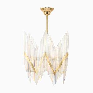 Lámpara de araña de latón dorado y cristal de Palwa, Germany, años 70