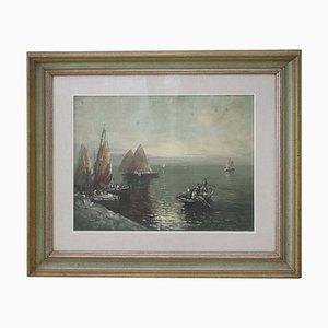 Dipinto ad olio su tela di Marina con pescatori, anni '50