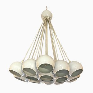 Italian Mid-Century Modern White 19-Light Chandelier with Cluster Structure, 1970s