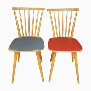 Red & Blue Wooden Rung Kitchen Chairs, 1950s, Set of 2