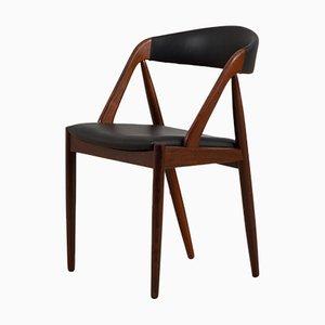 Silla de escritorio modelo 31 de palisandro tapizada en cuero negro de Kai Kristiansen para Schou Andersen, Denmark, años 60