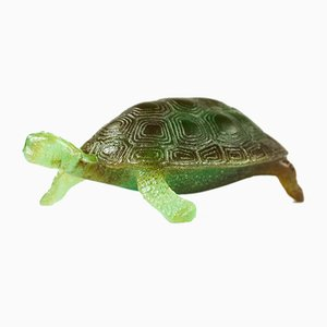 Vintage French Crystal Glass Turtle Paperweight from Daum Nancy, 1980s