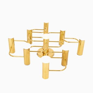 Flushmount in Chrome and Brass by Sciolari for Leola, Germany, 1970s