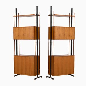 Mid-Century Italian Freestanding Teak Wall Unit or Room Divider in the Style of Gio Ponti, 1960s, Set of 2