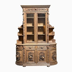 French Carved Oak Hunting Cabinet