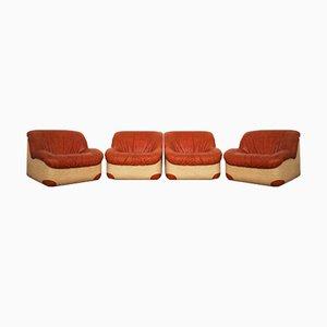 Swan Armchairs, 1970s, Set of 4