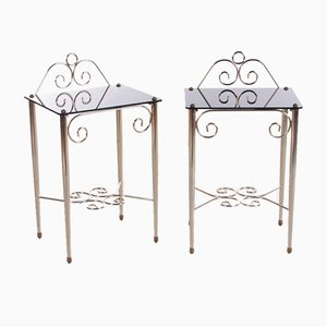Vintage French Bedside Tables in Glass and Brass, Set of 2