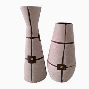 Vintage 529 18 & 520 22 Keramikvasen in Beige, Braun und Gelb, 1960er, 2er Set