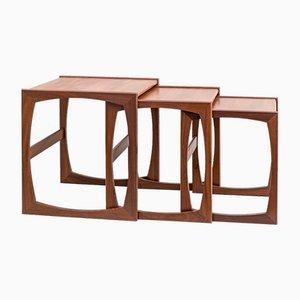 Mesas nido Quadrille de teca de Robert Bennett para G-Plan. Juego de 3
