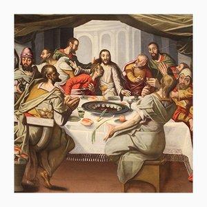 Antique Flemish Religious Painting of Last Supper, 16th Century