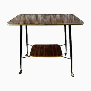 Mid-Century Formica, Brass & Metal TV Side Table on Wheels, 1960s