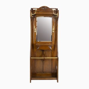 German Art Nouveau Oak Wardrobe with Brass Hooks
