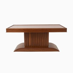 Art Deco Coffee Table in Mahogany with Storage, 1930s