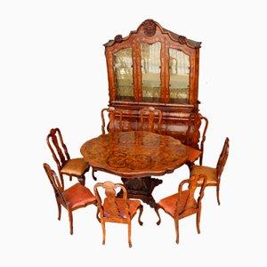 Vintage niederländische Vintage Essgruppe mit Intarsien, 1700er, 11er Set