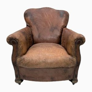 19th Century French Leather Club Chair
