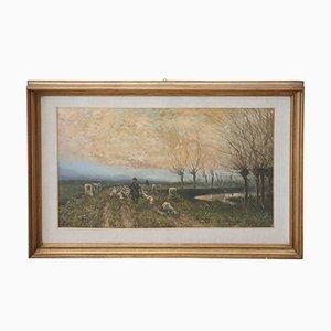 Impressionist Style Oil on Cardboard Painting, 1980s