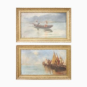 Marine Öl auf Leinwand mit Rahmen, 2er Set