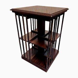 Viktorianisches Dreh-Bücherregal aus Mahagoni mit Stahleinsätzen, spätes 19. Jh