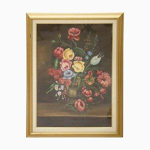 Natura morta olio su tela con fiori