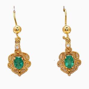 Boucles d'Oreilles Emeraude, Diamant et Or Jaune, Set de 2