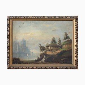 Antique Oil Painting on Canvas Depicting Lake Landscape