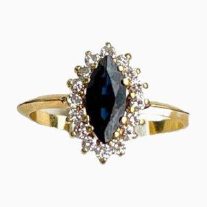 Australischer Saphir, Diamant & Gelbgold Ring