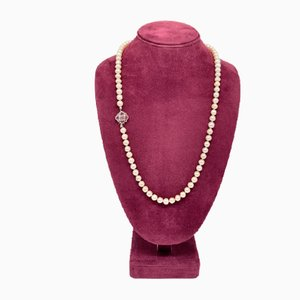 Akoya Pearl Necklace with White Gold and Ruby Clasp