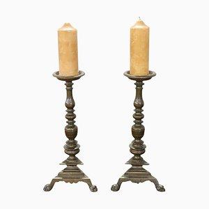 Antique Gilded Bronze Candleholders, 1680s, Set of 2