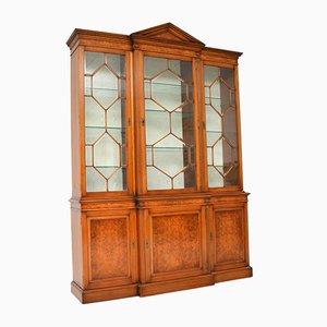 Antique Burr Walnut Breakfront Bookcase or Display Cabinet