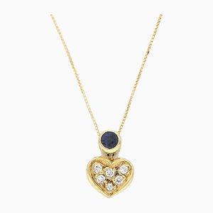 Sapphire & Diamond Heart Necklace