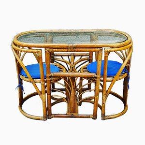 Mesa de bambú con sillas ocultas, años 60. Juego de 3