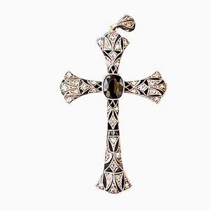 Portuguese Art Deco Crucifix in Diamond, Sapphire & Obsidian