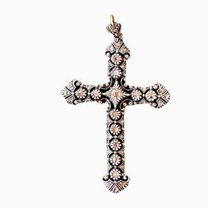 Crucifix Art Nouveau en Argent, Or et Diamant